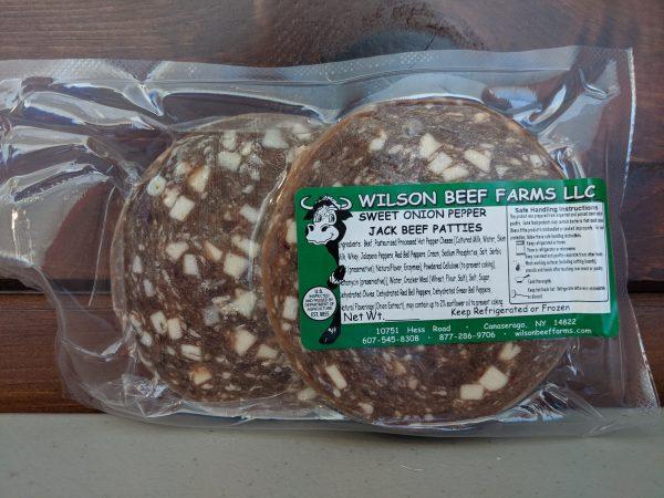 Wilson Beef Farms   Sweet Onion Pepperjack Patties